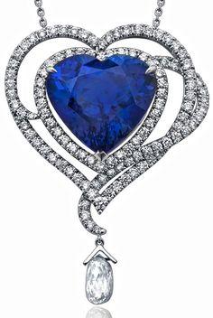 Boodles. heart shaped tanzanite pendant & diamond drop