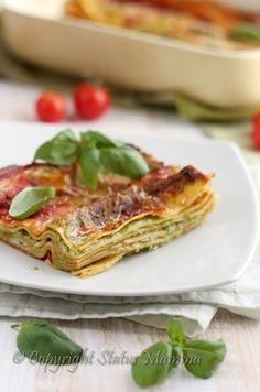 Ricetta primo piatto vegetariano lasagna lasagnetta con ricotta e pesto senza carne ricetta facile e veloce Statusmamma Gialloblog