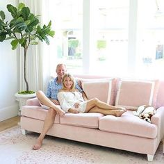 Starting this week off feeling rosy in our new living room.🌸💕 - stay tuned for the full reveal but for now. don't you just love our 2 new additions from Pink Couch, Pink Rug, New Living Room, Living Spaces, Home Decor Furniture, Diy Home Decor, Blush Sofa, Pretty In Pink, Family Room