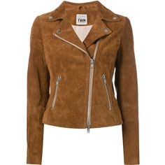 Twin-Set suede jacket ($300) ❤ liked on Polyvore featuring outerwear, jackets, brown, suede leather jacket, brown suede jackets, brown jacket, brown suede leather jacket and suede jacket