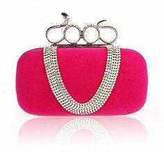 Afibi Women Crystal Finger Evening Party Handbags Shoulder Bag Clutch SnakePink ** Want to know more, click on the image.