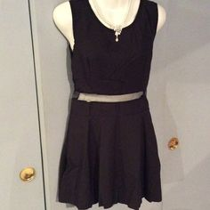 Black Dress Pretty Little dress with sheer waist and back. Fits s/m Dresses