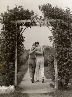 vintage photograph | A 1940s couple takes a romantic stroll
