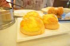 Egg custard bun with pineapple glaze