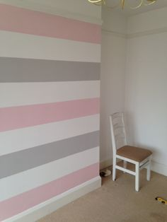 I've been overwhelmed with how much you guys loved Elsa's bedroom makeover & especially the grey, pink & white stripes on the chimney breast which… Striped Walls Bedroom, Pink Striped Walls, Striped Room, Striped Painted Walls, Room Design Bedroom, Bedroom Wall Designs, Girls Room Design, Diy Room Decor For Girls, Girls Room Paint