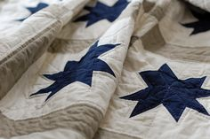 blue, white and putty stars - love the colors and the simplicity of this pattern