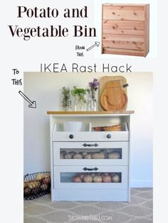 IKEA Hack potato container Genious And Super Simple ! DIY Potato and Vegetable Storage Bin Ikea hack (Also can serve as a portable Pantry)! Perfect for Organizing And Freeing up Space in Your Kitchen ! Furniture Projects, Furniture Makeover, Home Furniture, Painted Furniture, Furniture Storage, Rustic Furniture, Diy Projects, Modern Furniture, Furniture Removal