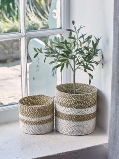 Beautifully crafted from natural seagrass, this rustic set includes two storage baskets.