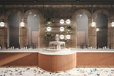 I really like the fancy design of this restaurant bathroom. it's really pleasing to the eye. Retail Interior Design, Restaurant Interior Design, Commercial Interior Design, Interior Design Tips, Bathroom Interior Design, Commercial Interiors, Interior Shop, Restaurant Interiors, Washroom Design