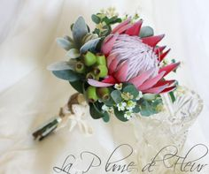 King protea, Geraldton wax, gumnuts and Australian native foliage. Protea Bouquet, Silk Flower Bouquets, Bride Bouquets, Bridesmaid Bouquet, Silk Flowers, Protea Wedding, Wedding Flowers, King Protea, Australian Native Flowers