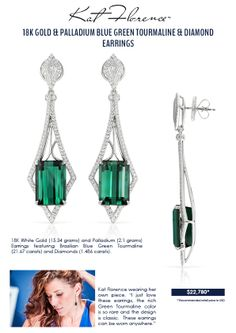 Kat Florence Signature Jewelry – Blue Green Tourmaline and Diamond Earrings Jewelry Logo, Charm Jewelry, Jewelry Shop, Charm Bracelets, Jewelry Rings, Jewlery, Fashion Jewelry, Women's Fashion, Tourmaline Earrings