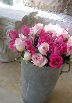 galvanised bucket with roses