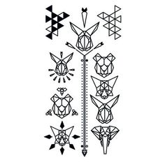 Black Geometric Animal Temporary Tattoo Set