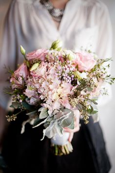 Love this garden fresh bouquet! Pink hydrangea, pink lisianthus and garden roses, and seeded eucalyptus. Loved putting this bouquet together! #wedding #bouquet