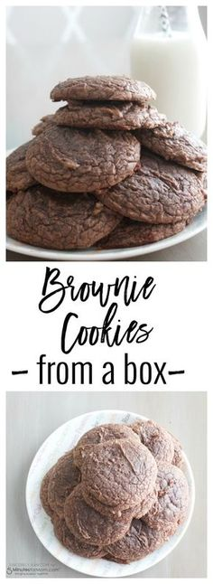 Box Brownie Cookie Recipe, Boxed Brownie Recipes, Brownie Mix Cookies, Cake Mix Recipes, Easy Cookie Recipes, Cookie Desserts, Yummy Cookies, Cookies Bag, Cookies From Cake Mix