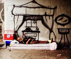 Street Artist Spray-Paints Imaginary Homes For Homeless To Highlight Poverty