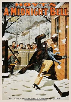 Vintage poster of boys pelting man with snowballs. Prints from $19.99