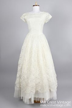 1950 Tiered Tulle Lace Vintage Wedding Gown - Mill Crest Vintage