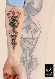 dotwork geometric beach tattoo