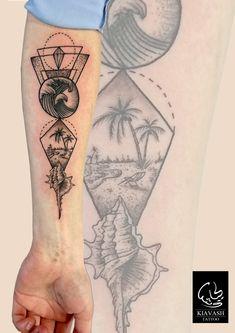 dotwork geometric beach tattoo