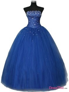 Royal blue ball gown with tulle skirt and subtle sparkle, reminds me of fairy dust