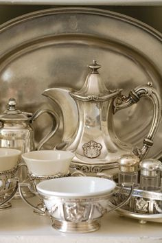 When I see old silver services, I think about the wonderful converations that went with each sip of tea.............