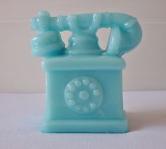 Blue milk glass vintage telephone paperweight