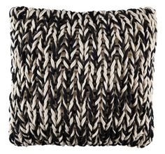 Add a contemporary touch to your sleeping sanctuary with the Latitude Splice Throw Pillow from KAS Australia. Adorned in a chunky, woven design, this stylish sleeping accent adds a burst of texture that completes the geometric bedding. Decorative Cushions, Wedding Gift Registry, Soft Furnishings, Merino Wool Blanket, Bedding Shop, Fashion Earrings, Knitting, Pattern, Black