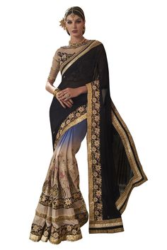 Buy Now Black-Cream Fancy Embroidery Georgette Half-Half Wedding Wear Saree only at Lalgulal.com. Price :- 4,632/- inr. To Order :- http://goo.gl/HDca9i COD & Free Shipping Available only in India