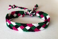 Diagonal Stripes with Diamonds  Green Magenta by ThreeLuckyOwls