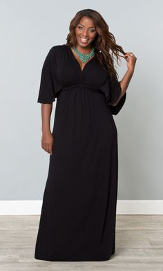 Charlize Maxi Dress, Black Noir (Womens Plus Size) From The Plus Size Fashion At www.VinageAndCurvy.com