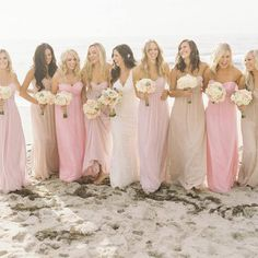 I'm loving the different shads of pink in these bridesmaids dresses!