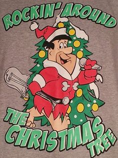 Hanna-Barbera Fred Flintstone T Shirt Sz XL Rockin Around Christmas Tree Holiday #HannaBarbera #FredFlintstone