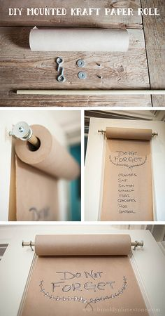 DIY Mounted Kraft Paper Roll that's great for an organized craft room. Home Projects, Craft Projects, Craft Ideas, Decor Ideas, Room Ideas, Diy Organizer, Ideias Diy, Room Organization, Diy Paper