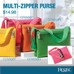 """MULTI ZIPPER PURSE - From Regal Gifts Add a pop of summer colour! Faux leather fold over purse features 2 outside zippered pockets to hold all of your necessities. Adjustable strap allows you to wear over the shoulder or cross the body, extends to 43"""". (9""""W x 6-1/2""""H)"""