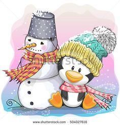 Cute Cartoon Penguin in a knitted cap and snowman