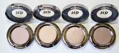 Urban Decay Eyeshadows in Laced, Easy Baked, Sidecar, and Faint