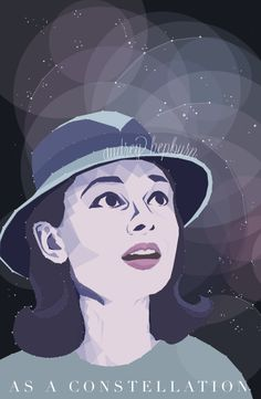 Vectorized Audrey Hepburn as a constellation. All swatches are inspired by the left side of the color wheel. Tints of pink (which is a tint of red), purple, blue and blue-green can be identified. A very tinted grey was also used as the color of the stars to make them pop from the colors which reside underneath.