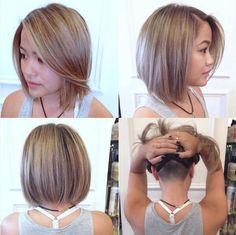 Straight Bob Haircut with undercut to reduce bulk.