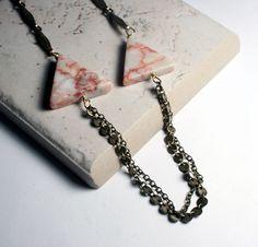 Triangle Necklace  Geometric Jewelry  by ValerieMiscellanea