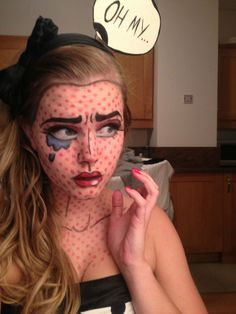 Pop Art Girl - Roy Lichtenstein Makeup - Imgur-GREAT Halloween makeup idea! Think: Archie's comics-Betty/Veronica or Blondie