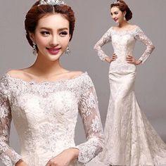 ウエディングドレス二次会 ウェディングドレス花嫁 結婚式披露宴 パーティードレス マーメイド 長袖 素敵豪華 安いドレス通販