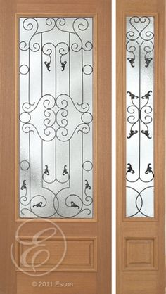 Exterior Solid Mahogany Excellent Roma Full View Decorative Glass U2013 8/0  Black Iron Between