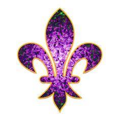 Vintage Purple Fluer De Lis stained glass