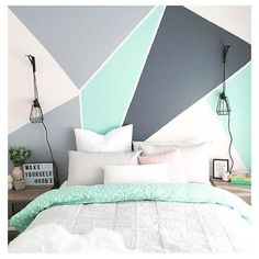 33 Best Geometric Wall Art Paint Design - Loading… ART– Have you ever wanted to design a work of art for your home but felt that you just - Bedroom Paint Design, Bedroom Wall Designs, Bedroom Colors, Bedroom Decor, Wall Decor, Paint Designs For Walls, Paint For Walls, Paint Ideas, Wall Art Bedroom