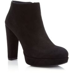 Stuart Weitzman Gran Platform High Heel Booties - 100% Bloomingdale's... ($455) ❤ liked on Polyvore featuring shoes, boots, ankle booties, black, platform boots, black platform booties, stuart weitzman boots, black boots and slouch boots