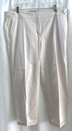 """Talbots Signature Khaki Capri Pants Side Button Detail Size 16 Inseam 26"""" #Capri #KhakisChinos"""