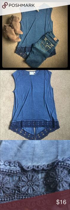 Split Back Lace Trim Top Cute split back lace trim top. Slight hi-low cut. Goes great with jeans or leggings! Brand new with tags. Dantelle Tops Tees - Short Sleeve