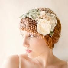 birdcage veil with real flowers