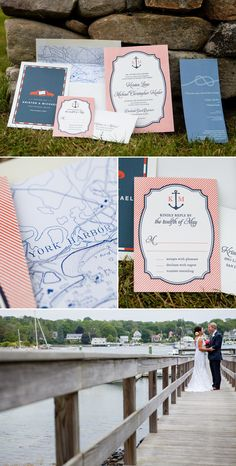 Kristen and Michael selected our Harbor Beach invitation for their Maine wedding -- click through to check out more photos from their big day!
